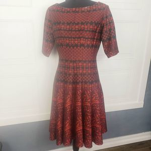 Julian Taylor Red Geometric Fit & Flare Dress